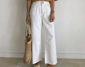white Wide Leg Pants-Casual Cotton Pants-Loose Pants-High Waist Pants-wide pants slacks - white high waisted Pants - white Palazzo Pants