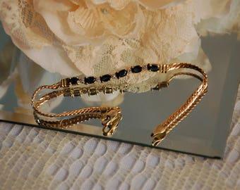Dazzling Sapphire and Diamond 14K Yellow Gold Bracelet