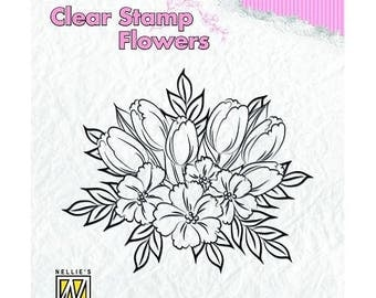 Stamp clear transparent scrapbooking NELLIE's CHOICE flower 009