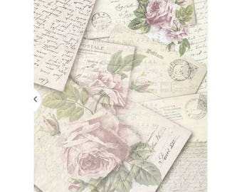 1 sheet of 21 x 28 cm VINTAGE pink writing 744 collage decoupage rice paper