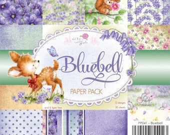 two pockets 15.2 36 papers x 15.2 cm WILD pink BLUEBELL