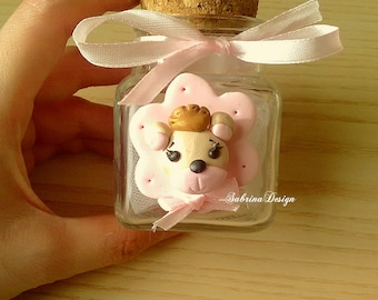 Princess bear polymer clay favor baptism baby shower first birthday