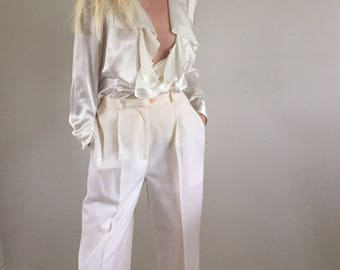 Vintage Creamy White High Waisted Pleated Pure Wool All Season Trousers