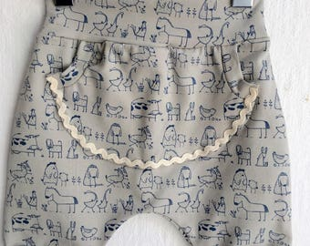 Shorts 62/68 pants with Pocket Jersey with animals drawing blue