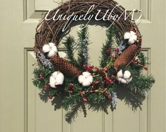 Pine cones Christmas wreath
