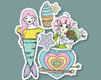 Kawaii Sticker Pack/Set of 5 Stickers/Cute Pastel Girly Stickers