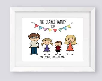 Personalised Family Print/Personalised Family Tree/Personalised Print/Family Tree Print/Stick Figure Family/Custom Family Print/Family Frame