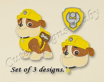 SALE! SET, Paw Patrol Rubble applique embroidery design, Paw Patrol Machine Embroidery Designs, Embroidery designs for baby, 3 designs #025