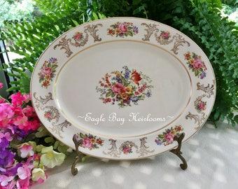 "Oval Serving Platter - 12.5"" - JOHNSON BROS. England -Pareek China ""Marlborough"" circa 1945"