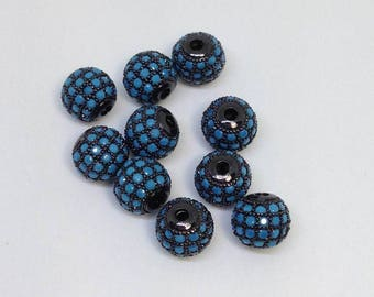 Micro Pave cz Cubic Zirconia Round Turquoise Beads 8mm, Beads for bracelet, Wholesale Micro Pave CZ Beads