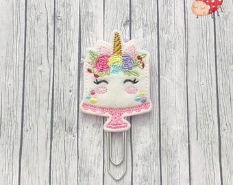 unicorn cake planner clip, planner, office supplies, felt, organiser accessories, embroidered, paperclip, gift, study, bookmark