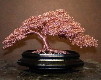 Copper Colored Hokidachi Style Wire Bonsai Tree