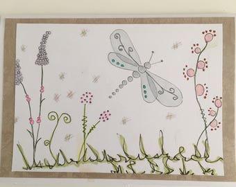 Dragonfly blank card