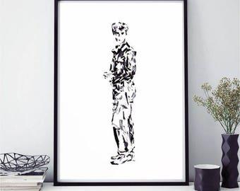Black and white print, minimalist art, illustration, abstract art, contemporary art, modern wall print, wall art, original art, modern art