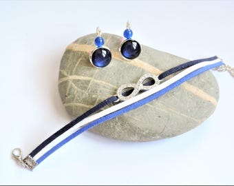 finery ღ ღ bracelet suede and earrings Royal Blue infinity set ღ