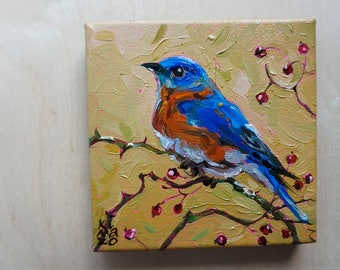Eastern Blue Bird 1. Original Oil Painting. 6 x 6 inch on canvas