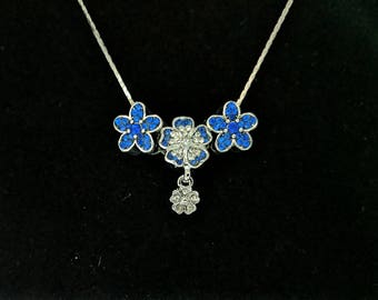 Blue CZ Flowers with a little dangle..... FREE SHIPPING!