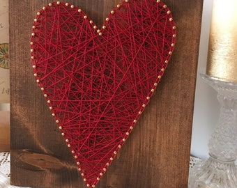 String Art Heart, Wedding Sign, Wedding Gift, Engagement Gift, Anniversary Gift, Rustic Wood Sign, Rustic Home Decor, String Art Decor