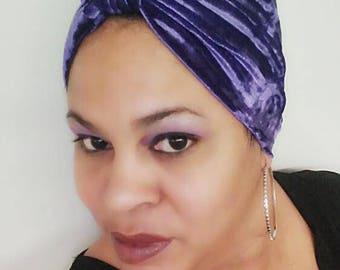 Purple Velvet Boho Glam Turban