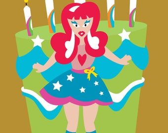 Ruby Lou - Birthday Card/party, rockin, cake, candles, colourful, surprise