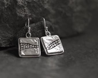 Mosaic Earrings -Rock Textured Square Mosaic Drop Earrings - Mosaic Silver - Natural - Rock - Earthy - Organic