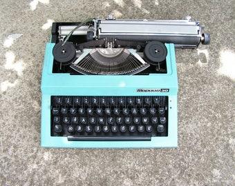 Vintage Working Typewriter Maritsa Blue Portable Typewriter Original Case