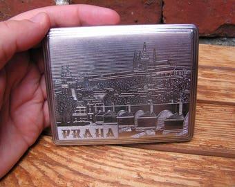 Metal Cigarette Case PRAHA Silver Tone Cigarette Case Cigarette Holder From Chechoslovakia Czech Cigarette Case Gift for Smokers