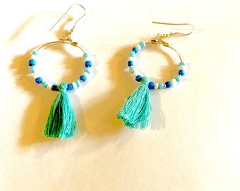 Tassel and turquoise blue earrings