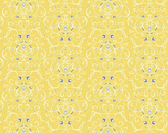 5 Yard Cut - Penny Rose - Jillilly Studios Yellow Floral - Floral
