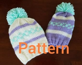Easy to follow pattern for Mommy & Me knit hats