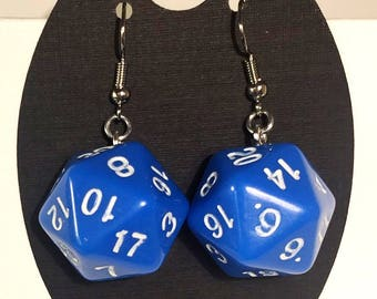 D20 Earrings Opaque Blue