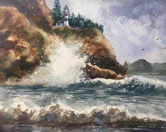 Lighthouse at Cape Disappointment, Ilwaco, Washington (Original, Prints and Cards Available!)