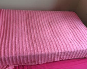 Hand Knit Pink Single Bed Throw