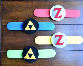 Like LEGEND of ZELDA Party Favors - Set of 4 Legend of Zelda Slap Bracelets, Legend of Zelda birthday, Zelda party favors, Zelda favors