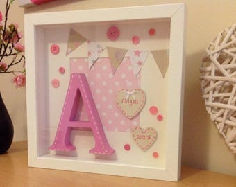Personalised Wooden New Baby Girl Keepsake Gift - 3D Box Frame with Initial letter for Nursery & 3d box frame | Etsy Aboutintivar.Com