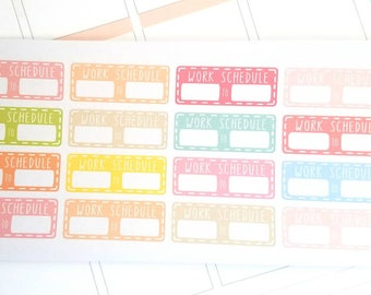 Work Schedule planner stickers - Gift for her - Daily Planner - Work Planner - Filofax - Erin Condren - Happy Planner - Christmas Gift