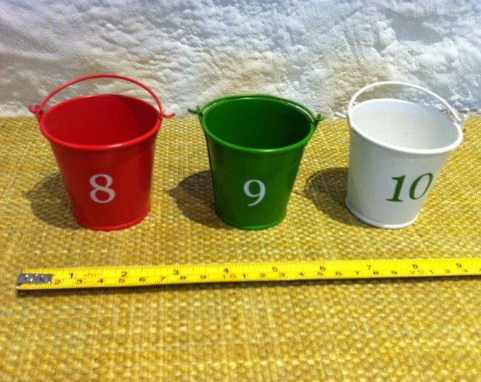 Vintage miniature Tin toys, 3 bucket numbered - mint condition doll accessories