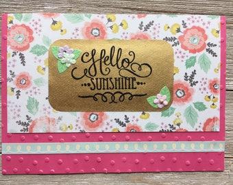Pink Floral Hello Sunshine Card