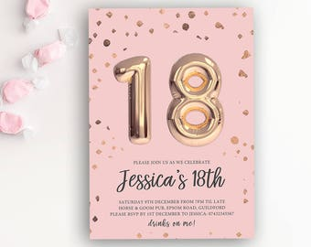 18th Birthday Printable Rose Gold Balloon Invitation & Pink