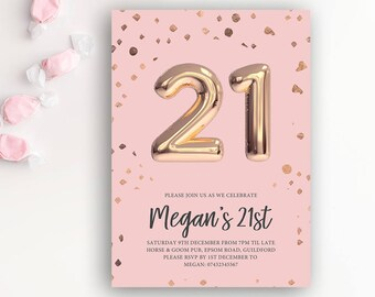21st Birthday Printable Rose Gold Balloon Invitation & Pink