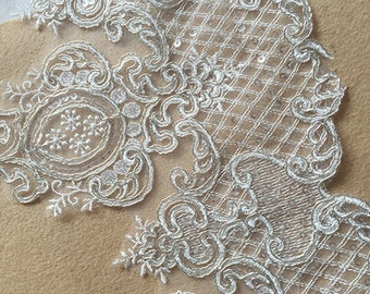 Off-White Trim Lace, Sequin Lace Trim for Bridal Veil, Wedding Lace   Trim, 9.84 Inches Wide 1 Yards/ Craft,Supplies, WL875