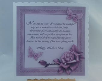 Handmade Mother's Day card * Mother's Day card * Card for Mum on Mother's Day