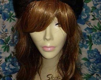 Black vintage faux fur hat.