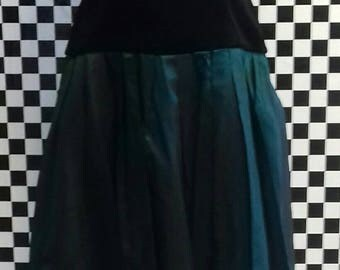 Green and black 80s party/prom dress - medium