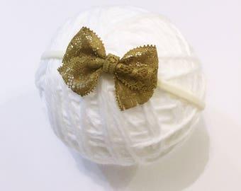 Mustard lace headband || Newborn Baby headband || Lace bow headband