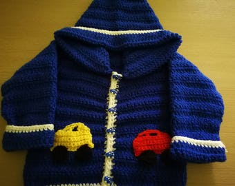 Cardigan/jacket with car appliques o very colourful