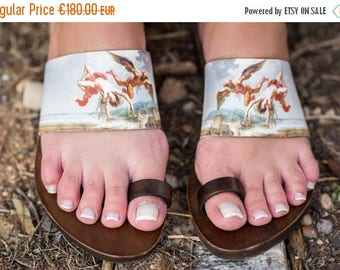 Icarus Daedalus toe ring sandals, ancient Greek sandals, printed leather sandals, Greek mythology, gift for her, art lover, history gift