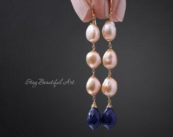 Lapis Lazuli Earrings Pearl Earrings Long Earrings Statement Earrings June Birthstone December Birthstone 14K Gold Filled Lapis Earrings