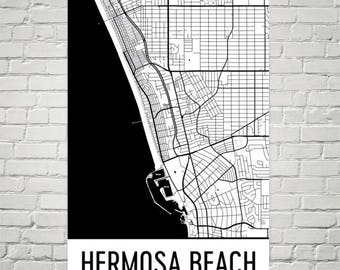 Hermosa Beach CA Map, Hermosa Beach Art, Hermosa Beach Print, Hermosa Beach California Poster, Wall Art, Map of California, Decor