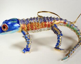 Gecko Lizard Reptile Ornament Enamel Articulated Body